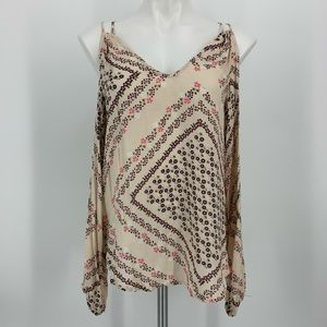 Love Stitch Long Sleeve Cold Shoulder Blouse Small